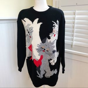 Vintage Basso Cat Graphic Wool Blend Tunic Sweater
